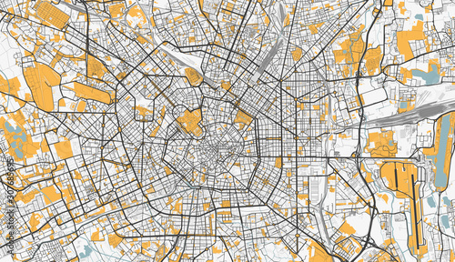 Canvas Print Detailed map of Milan, Italy