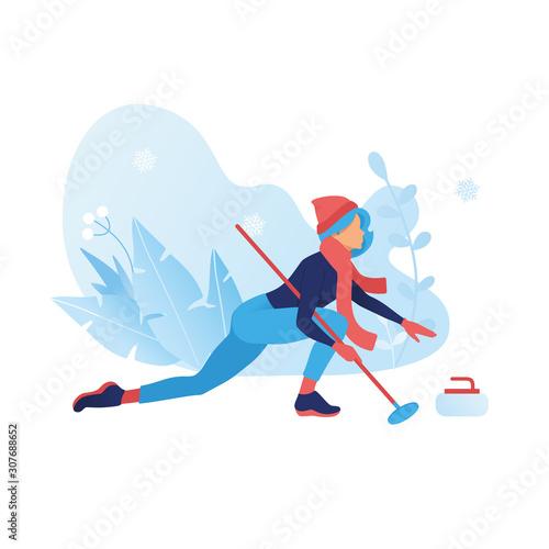 Fotomural Curling game winter sport illustration