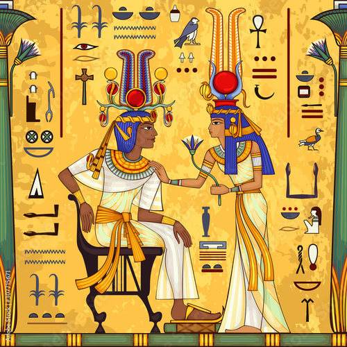 Egyptian hieroglyph and symbolAncient culture sing and symbol Poster Mural XXL