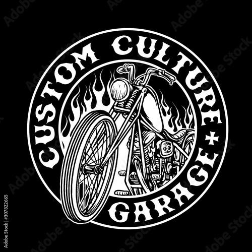 Fotografia chopper bike custom motorcycle vector badge