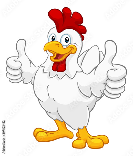 Foto A chicken cartoon rooster cockerel character mascot giving a thumbs up
