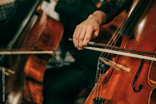 Fotografia Symphony orchestra on stage, hands playing cello