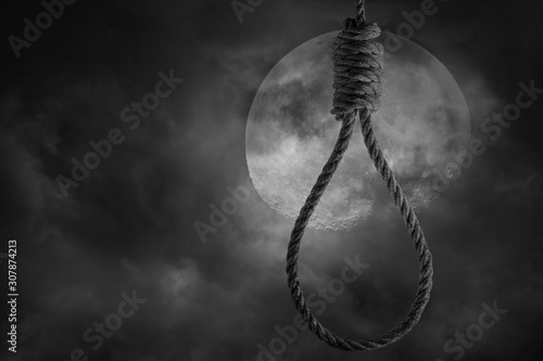 Slika na platnu Rope noose for hanging with scary full moon and clouds bright and dark at midnig