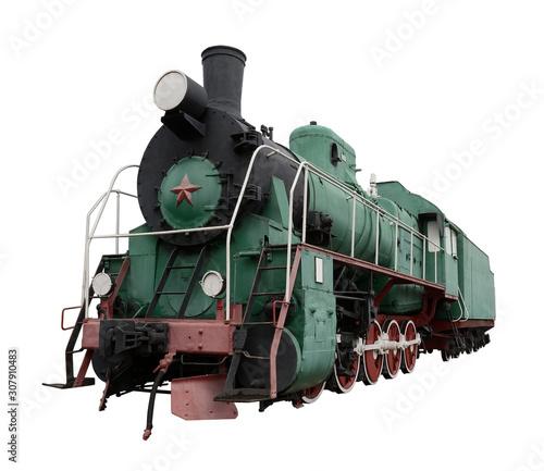 Fotografie, Obraz Vintage retro steam train isolated on white background