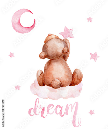 Little brown teddy bear sitting on a cloud and moon and stars; watercolor hand draw illustration; with white isolated background