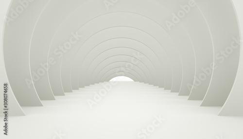 Photo 3D Illuminated corridor interior design.