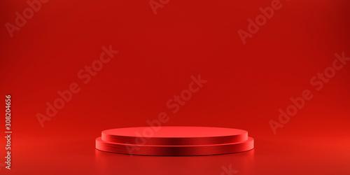 Pedestal of platform display with modern stand podium on red room background Fototapet