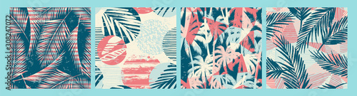 Seamless exotic pattern with tropical plants and textured background.