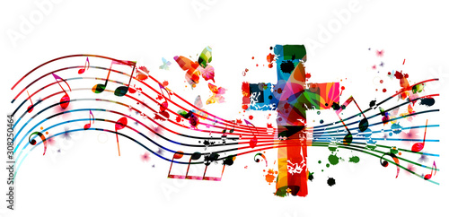 Murais de parede Colorful christian cross with music notes isolated vector illustration