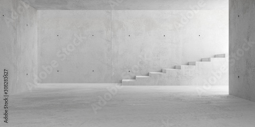 Fotografia Abstract empty, modern concrete room with stairs and lighting from side wall - i