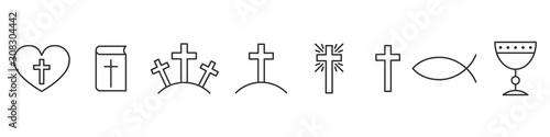 Fotografie, Tablou Set of outline christian icons. Religion icons