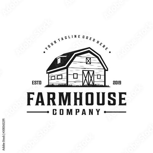 Fotografie, Obraz Farmhouse,warehouse / barn vintage logo design
