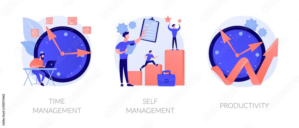 Performance increase ways icons set. Motivation and self discipline, goal achievement. Time management, self management, productivity metaphors. Vector isolated concept metaphor illustrations. <span>plik: #308374662 | autor: Visual Generation</span>