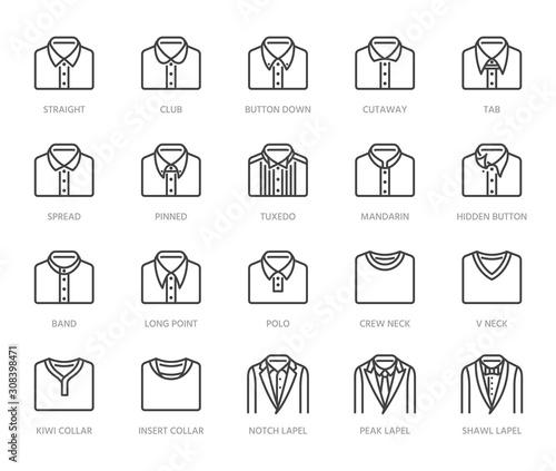 Billede på lærred Shirt collars, jacket types flat line icons set