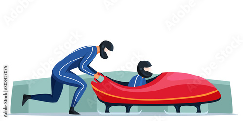 Photo Two sportsmen on track and bobsled winter sport