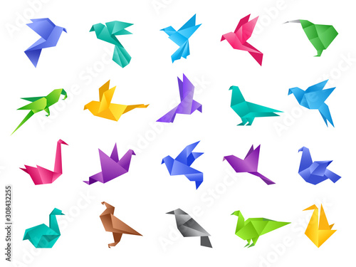 Origami birds. Stylized polygonal dove geometrical abstract shapes from clean paper vector animals isolated. Illustration dove and bird pigeon, paper polygonal origami animal