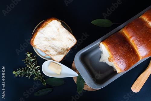Fotografia Food Baking concept Fresh baked organic homemade soft milk loaf bread in loaf pa