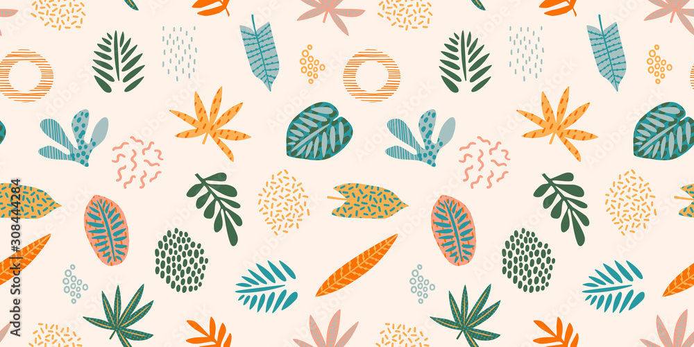 Abstract seamless pattern with tropical leaves. Hand draw texture. Vector. <span>plik: #308444284   autor: Nadezda Grapes</span>