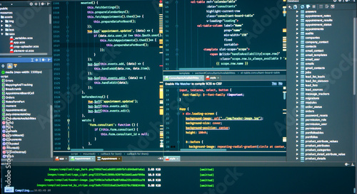 Fotografie, Obraz Вatabase structure, code structure, concole, logs, frontend, markup, Javascript source code for software development