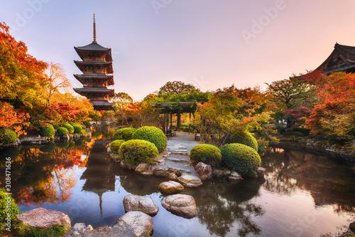 Fototapeta premium Starożytna drewniana pagoda Świątynia Toji w ogrodzie jesienią, Kioto, Japonia.