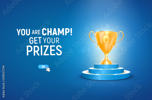 Photographie 3d golden trophy cup on blue podium vector illustration