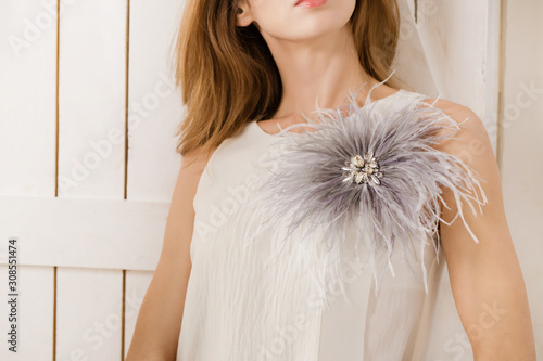 Wallpaper Mural Gray ostrich feather brooch with rhinestones