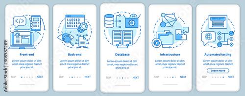 Obraz na plátně Software development onboarding mobile app page screen vector template
