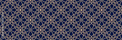 Fototapeta Seamless pattern in arabic style. Golden blue background