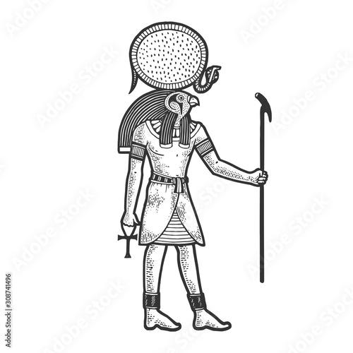 Wallpaper Mural Ra Ancient Egyptian deity god of sun sketch engraving vector illustration