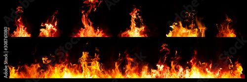Fotografie, Obraz Set of Panorama Fire flames on black background.