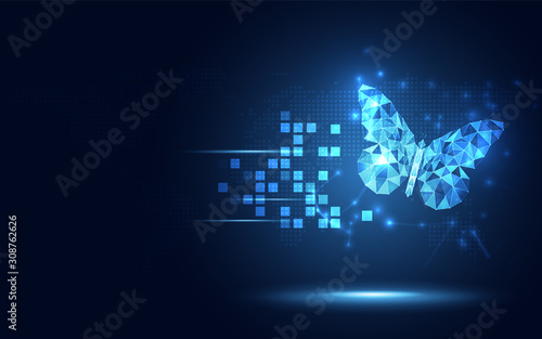 Fotografiet Futuristic blue lowpoly Butterfly abstract technology background