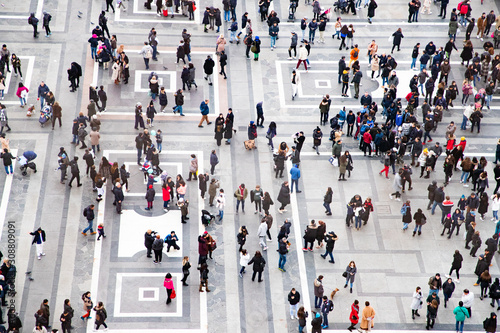 top view of crowd of people on a square Fototapete