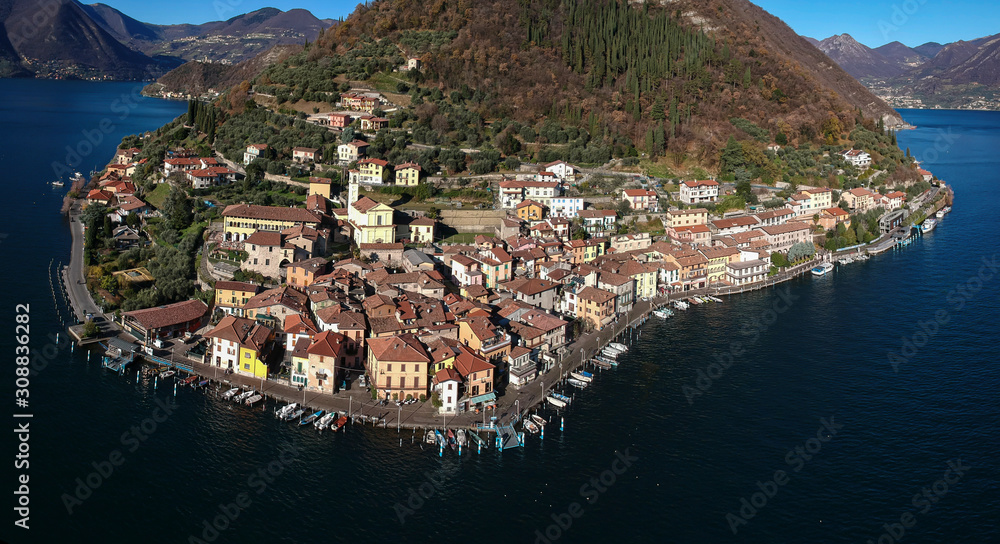 Landscape of Monte Isola and Iseo Lake
