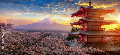 Obraz na plátně Fujiyoshida, Japan Beautiful view of mountain Fuji and Chureito pagoda at sunset