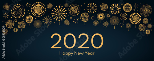 Fotografering Vector illustration with bright golden fireworks on a dark blue background, text 2020 Happy New Year