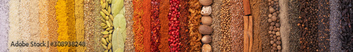 Seasoning, spice and herbs background. Panoramiс background with various condiments for food, top view