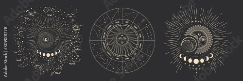 Fotografia Vector illustration set of moon phases