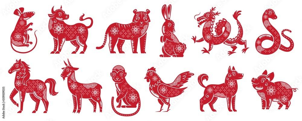 Znaki chińskiego zodiaku nowy rok. Tradycyjne chińskie horoskop zwierzęta, sylwetka czerwone zodiaki. Astrologiczny kalendarz maskotki kot, smok i tygrys. Zestaw ikon na białym tle wektor ilustracja <span>plik: #309009035   autor: Tartila</span>