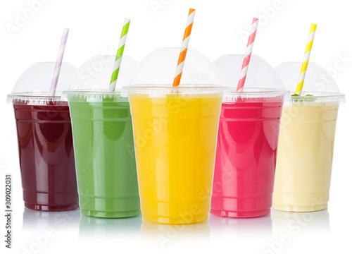 Carta da parati Collection of fruit juice smoothies fruits orange juices straw drinks in cups is
