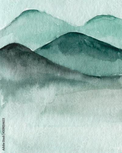 Naklejka na szafę Chińska Ilustracja - Góry we mgle