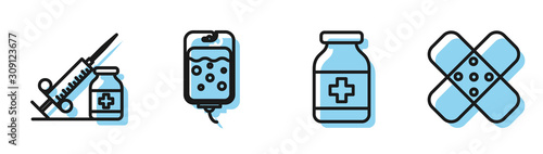 Photo Set line Medicine bottle, Medical syringe with needle and vial or ampoule, IV bag and Crossed bandage plaster icon