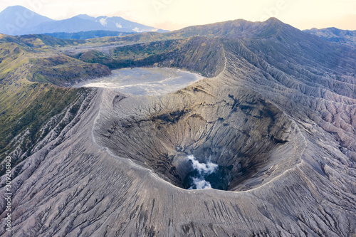 Canvas Print View from above, stunning aerial view of the Mount Bromo with clouds of gases raising from the crater