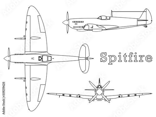Fotografia Supermarine Spitfire aircraft WWII outline only.