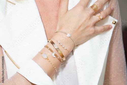 Obraz na płótnie woman hand closeup with jewellery rings and bracelets fashion style
