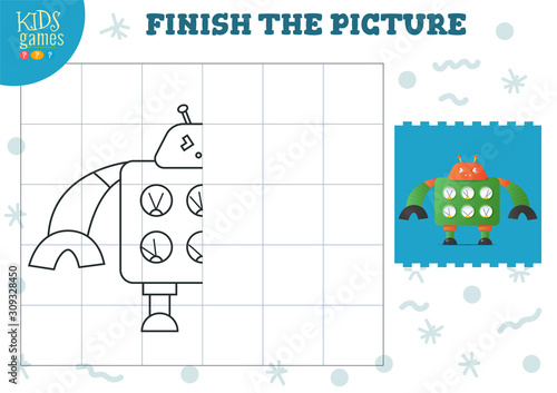 Obraz na płótnie Copy and complete the picture vector blank game, illustration