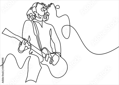 Fotografia continuous line drawing of a man playing guitar musician illustration