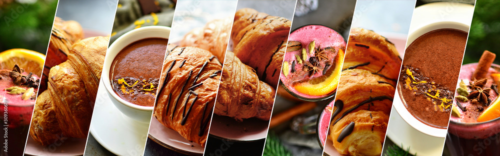 Collage of sweet food. Croissants, jam, coffee, sweet desserts and drinks. A variety of delicious food.