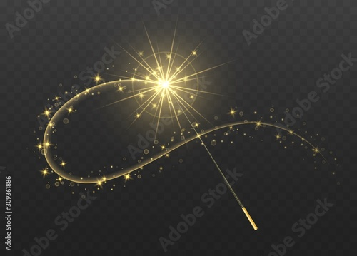 Obraz na plátně Magic wand with golden swirl and sparkles isolated on transparent background