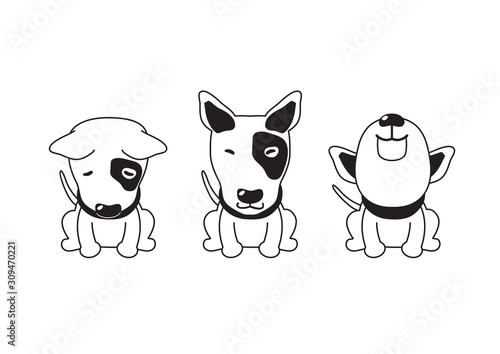 Photo Vector cartoon character bull terrier dog poses for design.