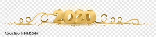 Fotografering 2020 happy new year vector symbol transparent background isolated